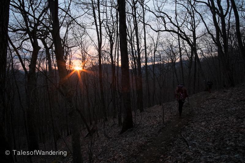 Hiking into sunset